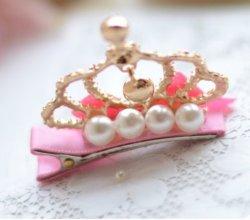 Baby Girl Toddler Kids Pink Bow Pearl Rhinestone Silver Crown Mini Tiara Hair Clips Little Princess Hair Accessories Esg13750