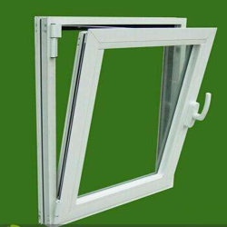 Foshan Factory Direct Sale Price UPVC Tilt and Turn Double Open Glass Window with Blinds