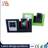 Wholesale Mobile Phone PU Holder with Table Quartz Alarm Clock