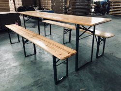 Outdoor Wooden Folding Beer Table Set Camping Table and Bench