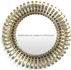 round curly metal champagne gold color art wall decorative mirror - Decorative Mirror Manufacturers
