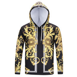 New Fashion T-Shirt for Men / Women Hooded Gold Floral Print Long Sleeve T-Shirt with Hat