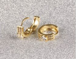 New Gold Silver Plated Classic Baby Cc Hoop Earrings Champagne Huggie Round Austrian Crystal Statement Jewelry