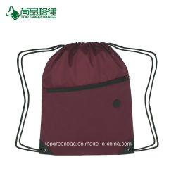 Customize Hit Polyester Sports Pack Drawstring Bag with Front Zipper
