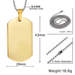 Wholesale Cool Military Army Style Stainless Steel Polished Dog Tag Charm Pendant Bead Chain Necklace Gift