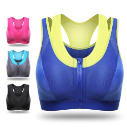 Nylon Elastane Splicing Double Layer Fitness Gym Sports Bras