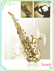 Beginner Model Soprano Curved Saxophone, Gold Lacquer Sax