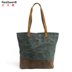 New Design Waterproof Canvas Ladies's Shopping Bag Leather Women Tote Handbags (RS-62250-P)