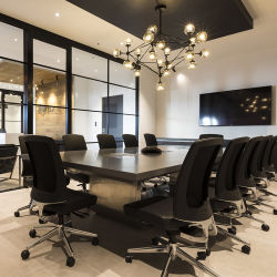 Commercial L Shape Hotel Half Circle Table Top Conference Meeting Table with Power Cable Socket