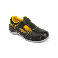 Black Embossed Leather Sports Work Shoes Sandal Safety Shoes
