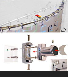 Wall-Mounted Stainless Steel 304 Bathroom Shower Curtain Rod (14-001)