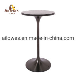 Metal Bar Furniture Round Wood Top Black Gold Stainless Steel Bar High Table  ...