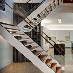 House Build Glass Railing Wood Steps Interior Prefabricated Staircase