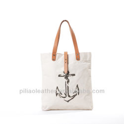 Custom Printed Women Canvas Tote Bag Leather Handle