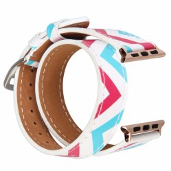 OEM Printed Double Tour Genuine Leather Watch Band for Apple Watch Strap
