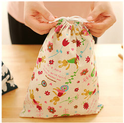 Signature Cotton Cosmetic Drawstring Pouch Bag in Stock