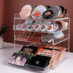 China Supplier Good Quality Clear Acrylic Makeup Organizer Vanity Storage Shelf Layer Design for Makeup Pallets Eyeshadow Pan