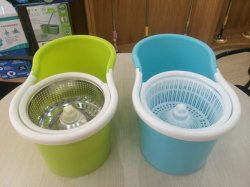 Microfiber Spin Mop Cleaning System - Easy Press Magic Floor Mop Bucket Set with 2 Microfiber Mop Heads - Customized Color