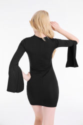 Open Flare Sleeve V-Neck Slim Sexy Dress
