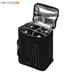 Travel Insulated 4 Pack Wine Carrying Case Cooler Tote Bag For Picnic Beach Days Party