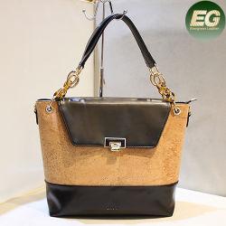 Lady Tote Bag Fashion Women's Bag Set New Design Tote Bag Lady Shoulder Bags Ladies Cork Genuine Leather Handbag Lady Bag Low MOQ OEM (Cork5)
