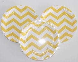 Wholesale Eco-Friendly Disposable Chevon Paper Plate