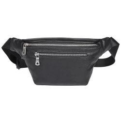 Hot Selling Good Quality Full Grain Leather Sport Bag Black Leather Waist Bag Fanny Pack for Men
