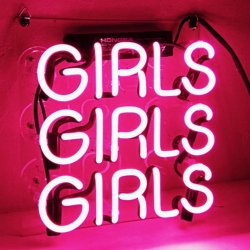 Neon Pink 3 Girls Stand Pub Club Bar Glass Beer Neon Sign