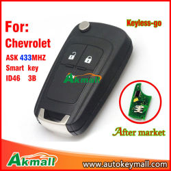 Keyless Flip Remote Smart Car Key for Chevrolet with 3 Buttons Ask433MHz ID46 Chip Hu100 Blade