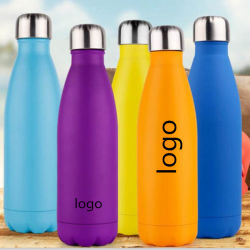 OEM Customized Logo Printed Gifts Portable Sport Outdoor Use Stainless Steel Cup Flask Cola Water Bottle Thermos Mug