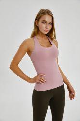 Estanla Yoga Sports Vest Women's Elastic Skin-Tight Long Slotted Back Top Fitness All-Match Yoga Wear