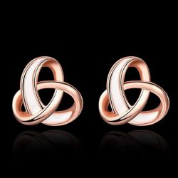 Fashion Jewelry for Women Enamel Rose Gold Plated Knot Charm Stud Earrings