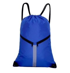 Large Capacity Sport Drawstring Backpack Sling Reflective Travel Bag with Zipper Pockets