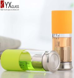 400ml Glass Water Bottle with S/S Cap/Glass Drinking Water Bottle with Long S/S Filter /Glass Tea Bottle with Silicone Sleeve