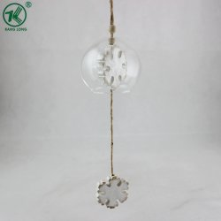 Christmas Decoration Glass Hanging Ornaments with Wooden White Snow