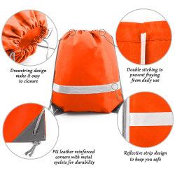 Drawstring Backpack Bags Reflective Bulk Pack, Promotional Sport Gym Sack Cinch Bags