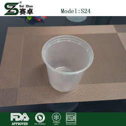 Round Food Containers Plastic Clear Storage Tubs with Lids Deli Pots