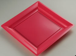 Easylife S071722 7'' (17cm) Square Red Disposable Plastic PS Plate