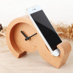 Question Mark Desktop Table Wood Clock with Phone Stand Holder