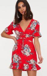 54ac9ca2c3a 2019 Hot Sale Red Floral Corset Swing Cotton Dresses