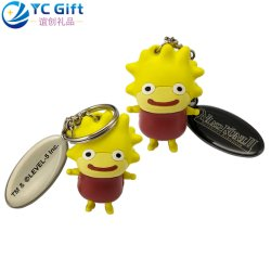 Wholesale Custom 3D Logo PVC Engrave Name Tag Key Finder Company Travel Promotional Items Personalized Keychain Cartoon Doll Toy Funny Plastic Rubber Keyring
