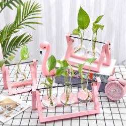 Best Price Colored Wooden Frame Glass Flower Plant Vase