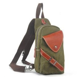 Korea Style Casual Chest Canvas Leather Waist Bag for Sport Bike (RS-1018)