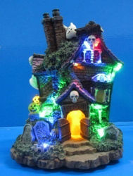 """Resin Halloween Decoration 6"""" LED Ghost House with 5 LED Lights"""
