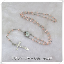 Plastic Beads with Center Piece Rosary Religious Craft, Plastic Rosary (IO-cr276)
