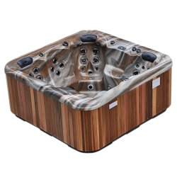 Brown Acrylic New Arrival Whirlpool Adult Swim Simple Tube with Two Lounges Massage Bath Tub SPA
