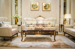 E70-1 Classical Leather or Fabric Sofa Solid Wood Painting High Gloss
