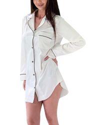 Shangyan Womens Long Sleeve Satin Nightshirt Button Front Pajamas Sleepwear