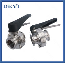 Sanitary Stainless Steel Hygienic Manual Pneumatic Clamped Weding Threaded Butterfly Valve