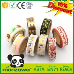 Manzawa Custom Make Colorful Gold Foil Assorted Christmas Reindeers Stag Pattern Decorative Adhesive Washi Paper Tape Wholesale